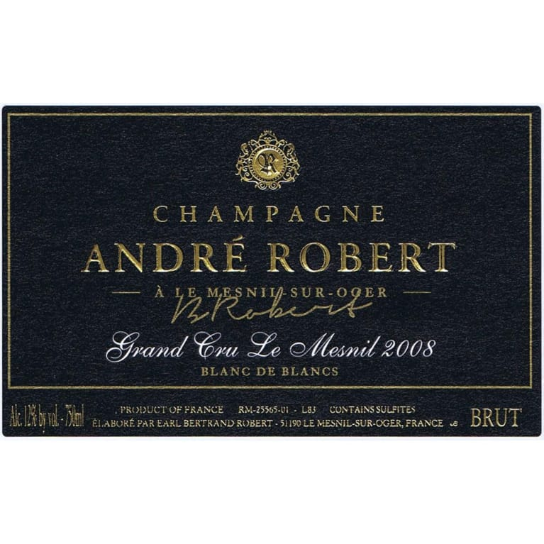 Andre Robert Le Mesnil Grand Cru 2008 Front Label