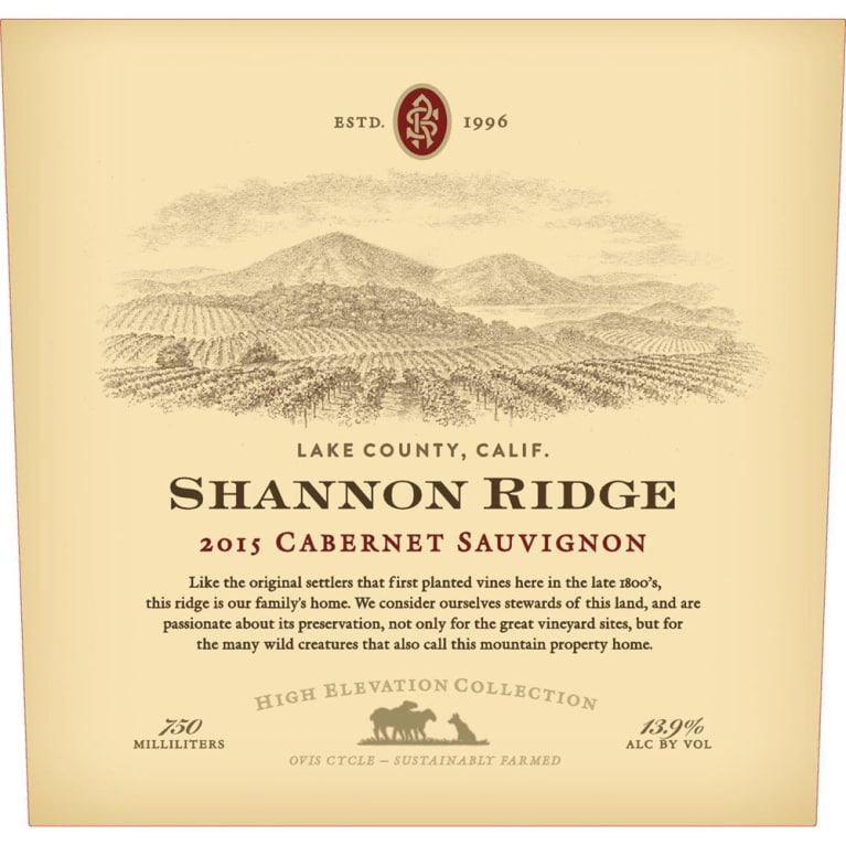 Shannon Ridge High Elevation Cabernet Sauvignon 2015 Front Label