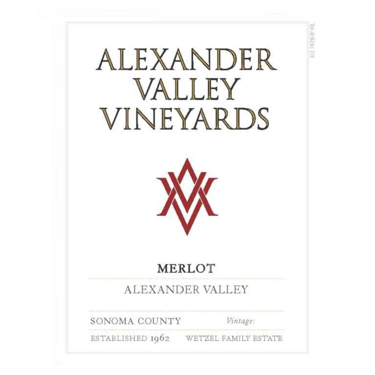 Alexander Valley Vineyards Merlot 2015 Front Label