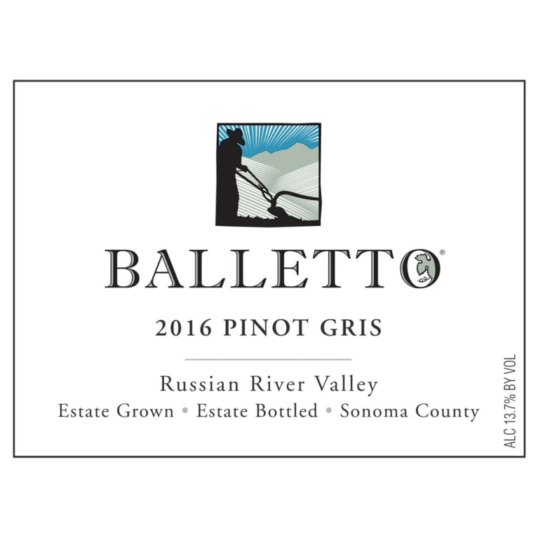 Balletto Winery Pinot Gris 2016 Front Label