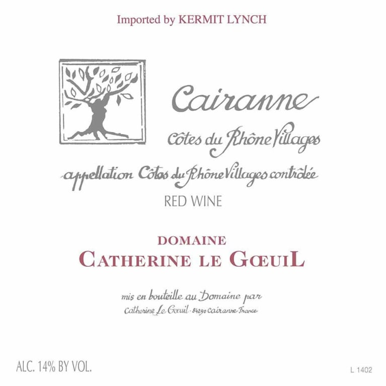 Domaine Catherine Le Goeuil Cairanne Cotes du Rhone Villages 2013 Front Label