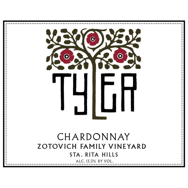 Tyler Winery Zotovich Family Vineyard Chardonnay 2015 Front Label