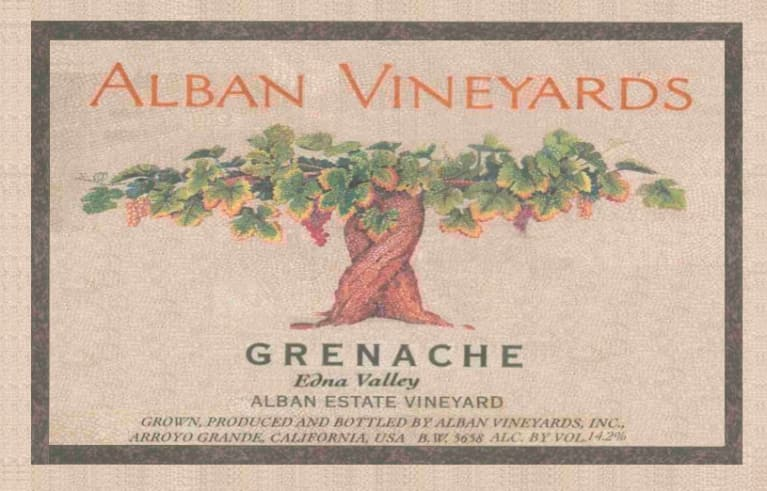 Alban Grenache 2013 Front Label
