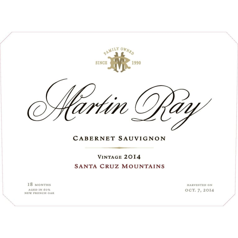 Martin Ray Santa Cruz Mountains Cabernet Sauvignon 2014 Front Label