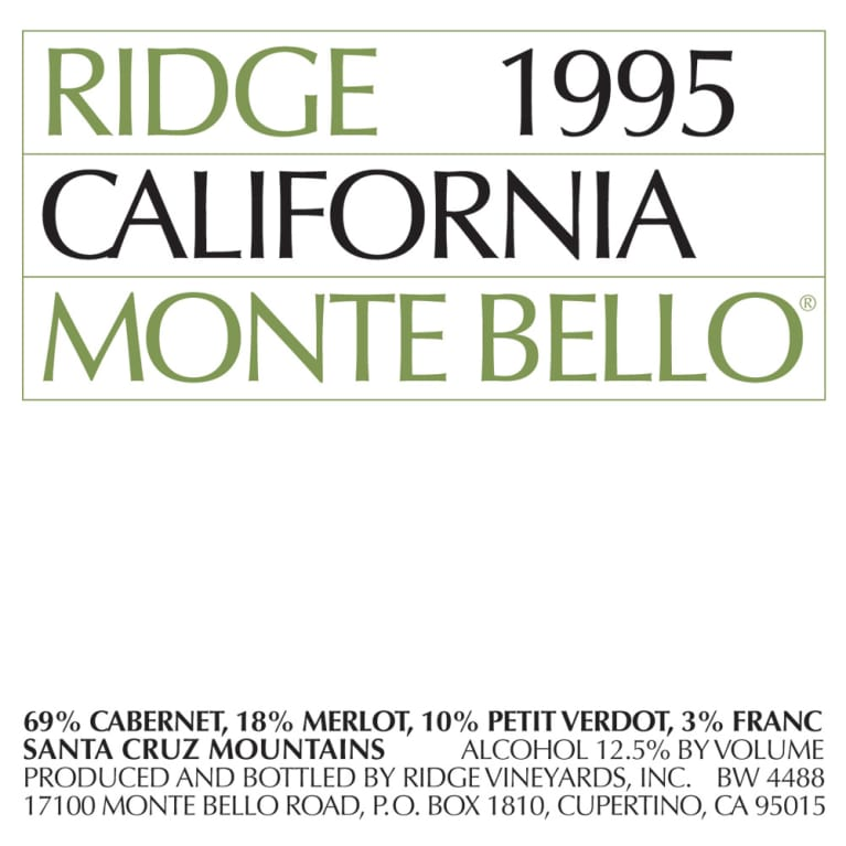 Ridge Monte Bello 1995 Front Label