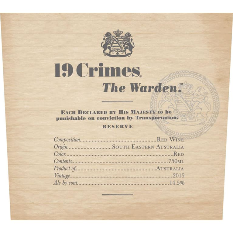 19 Crimes The Warden 2015 Front Label