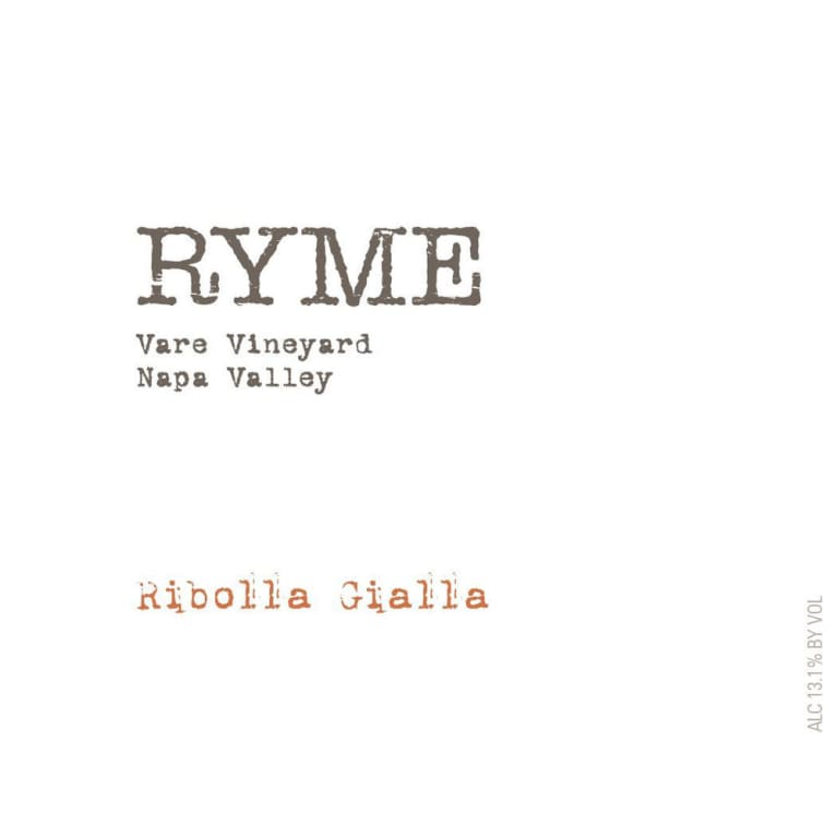 Ryme Vare Vineyard Ribolla Gialla 2013 Front Label