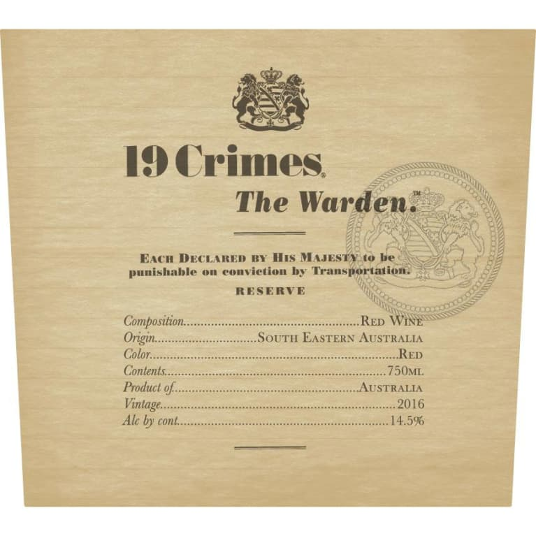 19 Crimes The Warden 2016 Front Label