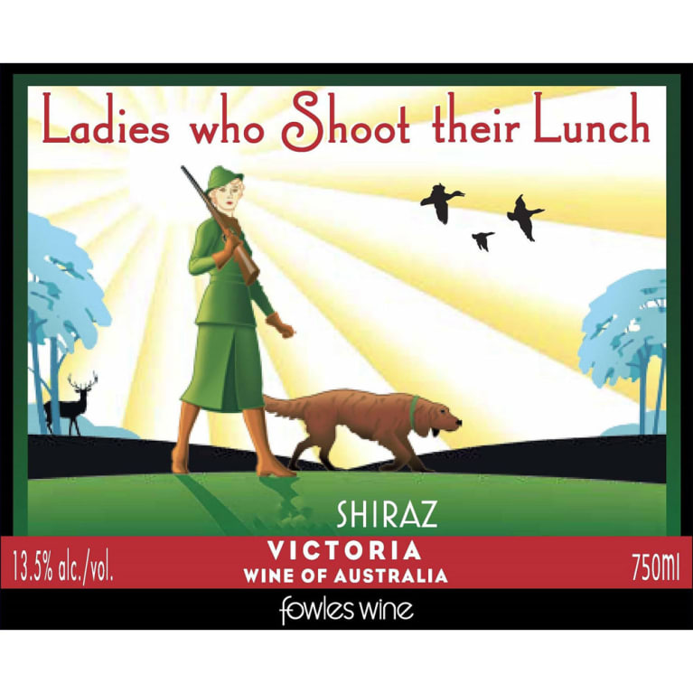 Fowles Wine Ladies Who Shoot Their Lunch Shiraz 2015 Front Label