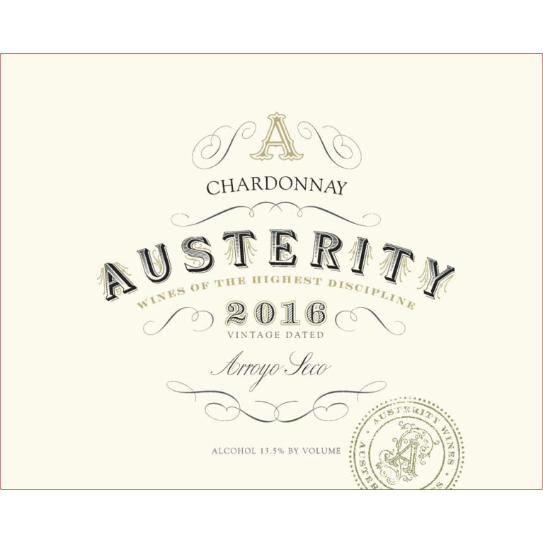 Austerity Chardonnay 2016 Front Label