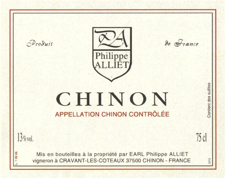 Philippe Alliet Chinon 2006 Front Label