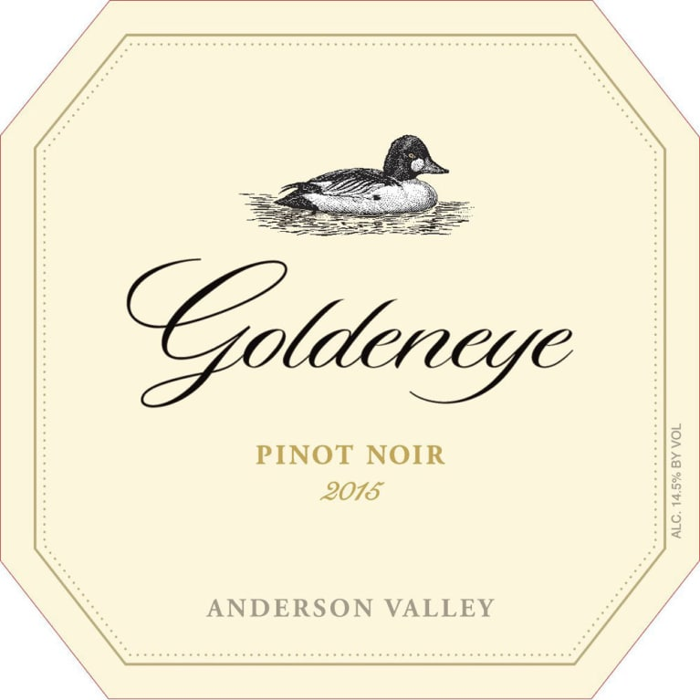 Goldeneye Anderson Valley Pinot Noir 2015 Front Label