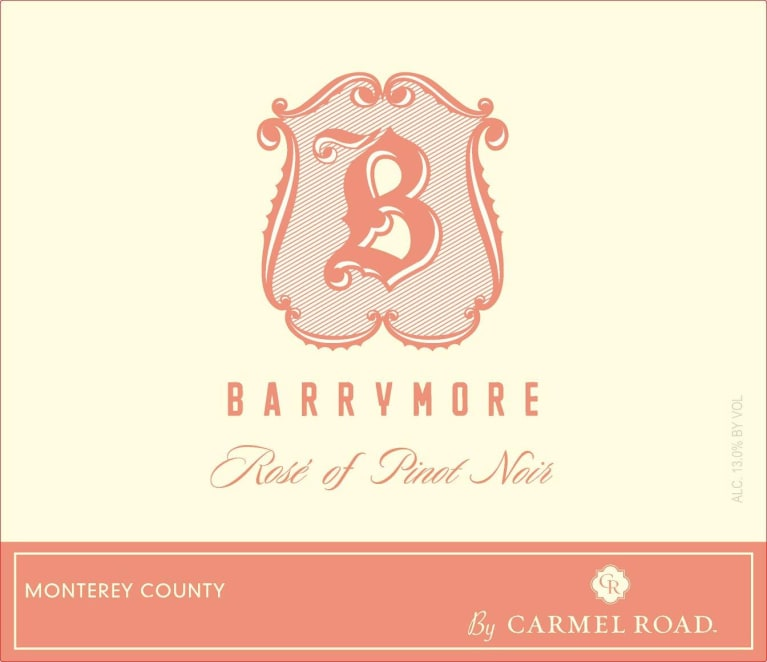 Barrymore by Carmel Road Rose of Pinot Noir 2017 Front Label