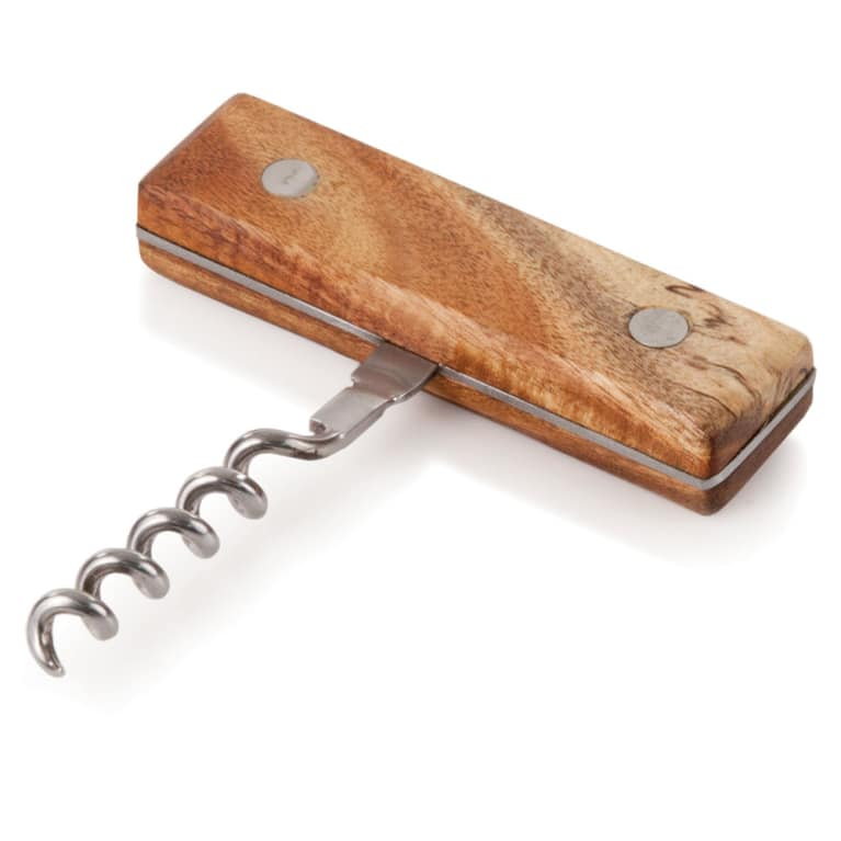 wine.com Rustic Stainless Steel & Acacia Wood Corkscrew Gift Product Image
