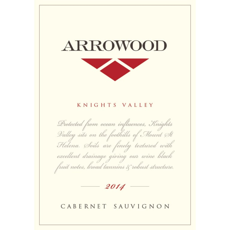 Arrowood Knights Valley Cabernet Sauvignon 2014 Front Label