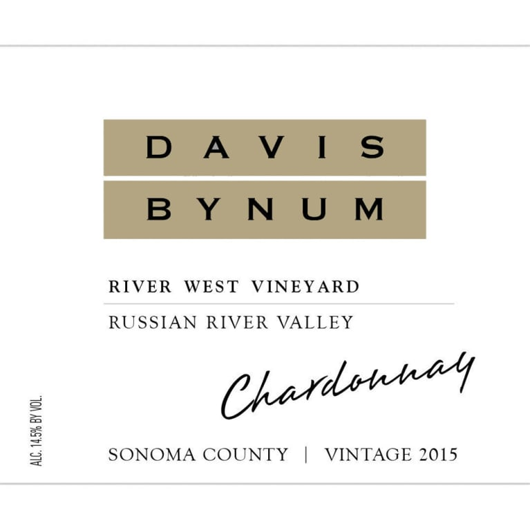 Davis Bynum River West Vineyard Chardonnay 2015 Front Label