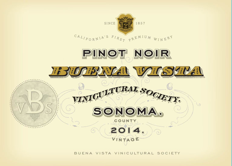 Buena vista vinicultural society pinot noir 2014 wine flat front label of wine reheart Image collections