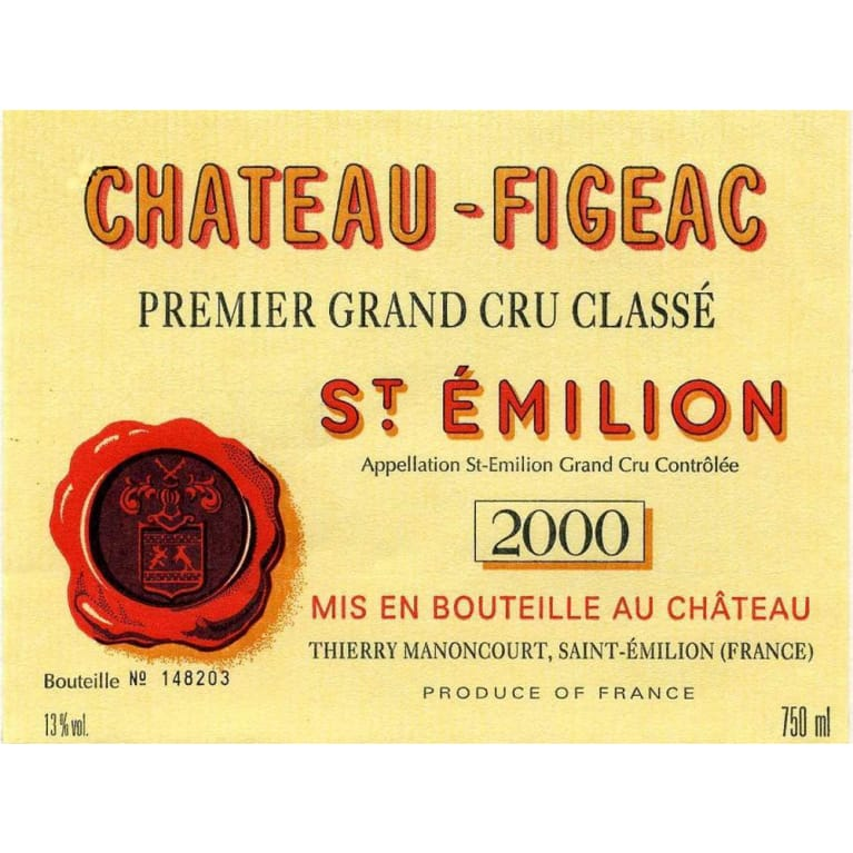 Chateau Figeac  2000 Front Label