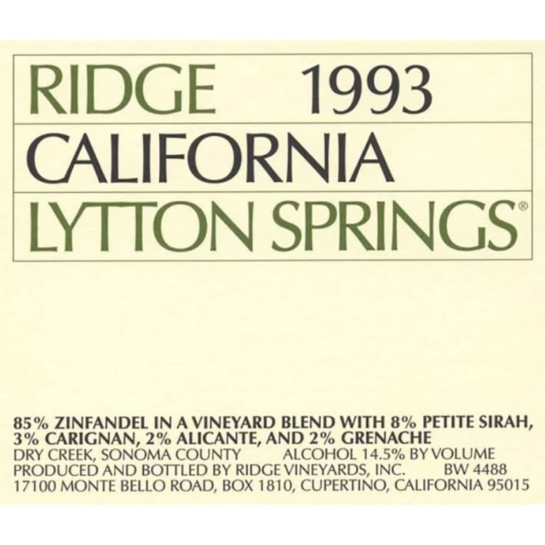 Ridge Lytton Springs 1993 Front Label