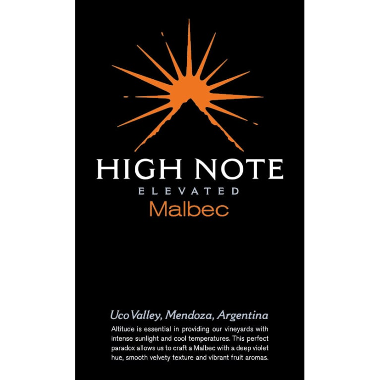 High Note Elevated Malbec 2016 Front Label