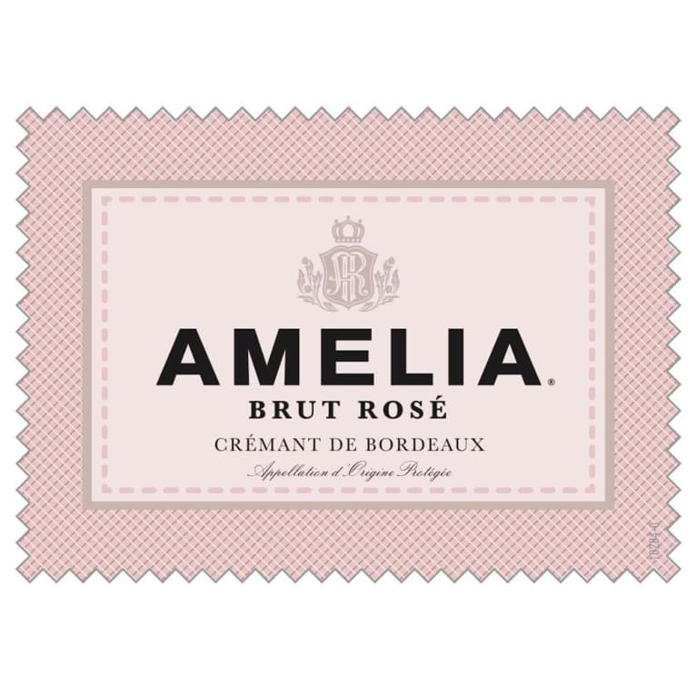 Amelia Brut Rose Cremant de Bordeaux Front Label