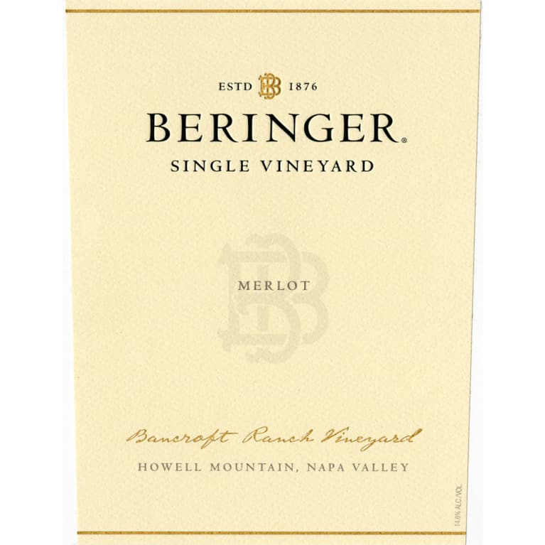 Beringer Howell Mountain Bancroft Ranch Merlot 1996 Front Label