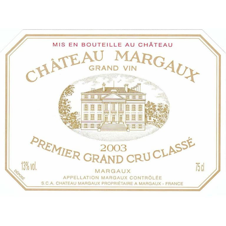 Chateau Margaux (scuffed label) 2003 Front Label