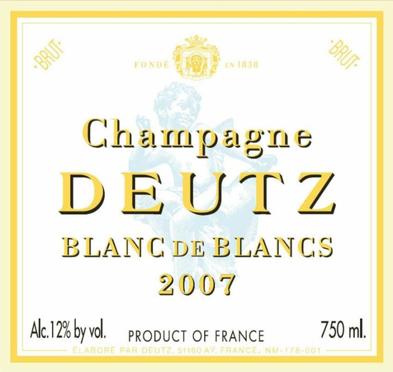 Deutz Blanc de Blancs Millesime 2007 Front Label