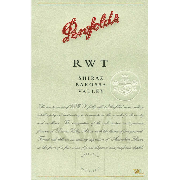 Penfolds RWT Shiraz 2003 Front Label