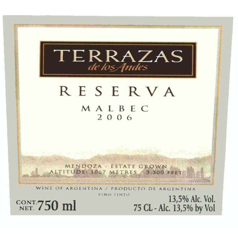 Terrazas De Los Andes Reserva Malbec 2006