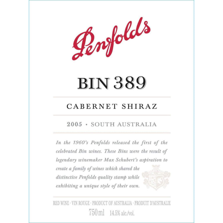 Penfolds Bin 389 Cabernet-Shiraz 2005 Front Label