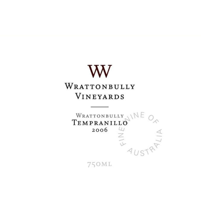 Wrattonbully Vineyards Tempranillo 2006 Front Label