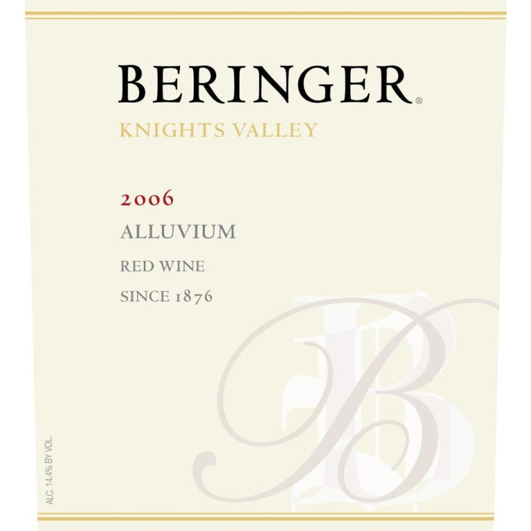 Beringer Knights Valley Alluvium Red 2006 Front Label