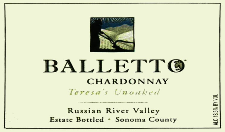 Balletto Winery Teresa's Unoaked Chardonnay 2016 Front Label
