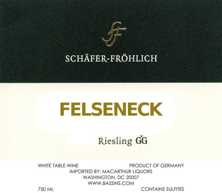 Schafer-Frohlich Felseneck Riesling Grosses Gewachs 2016 Front Label