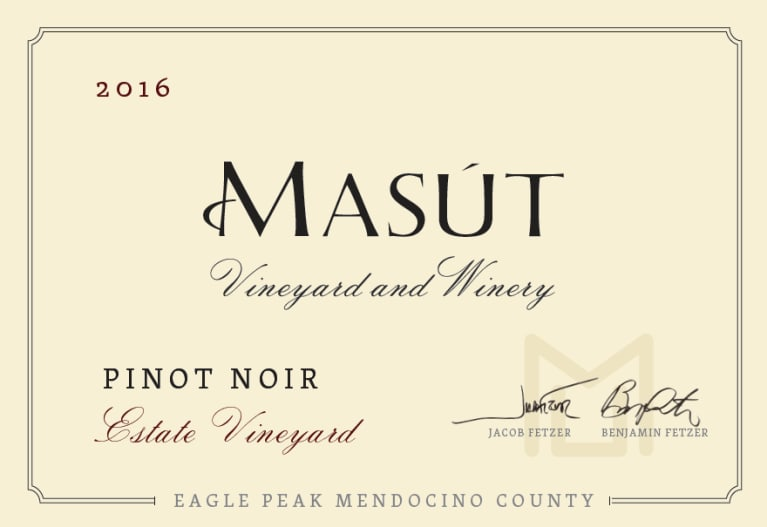 Masut Estate Vineyard Pinot Noir 2016  Front Label