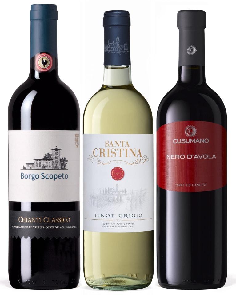 Wine bottles straight from Italia