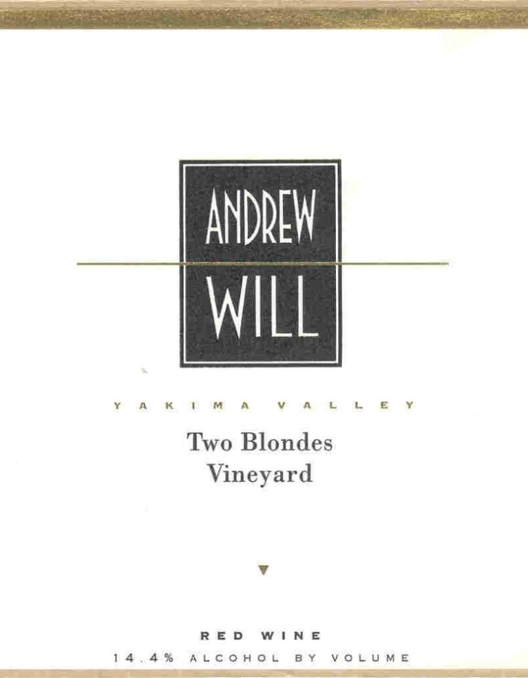 Andrew Will Winery Two Blondes Vineyard Red 2012  Front Label
