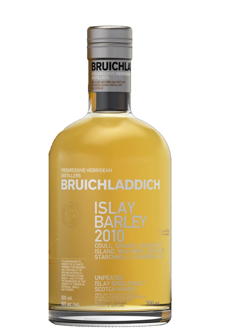 Bruichladdich Rockside Farm Single Malt Scotch Whisky (Yellow Tin) 2010  Front Bottle Shot
