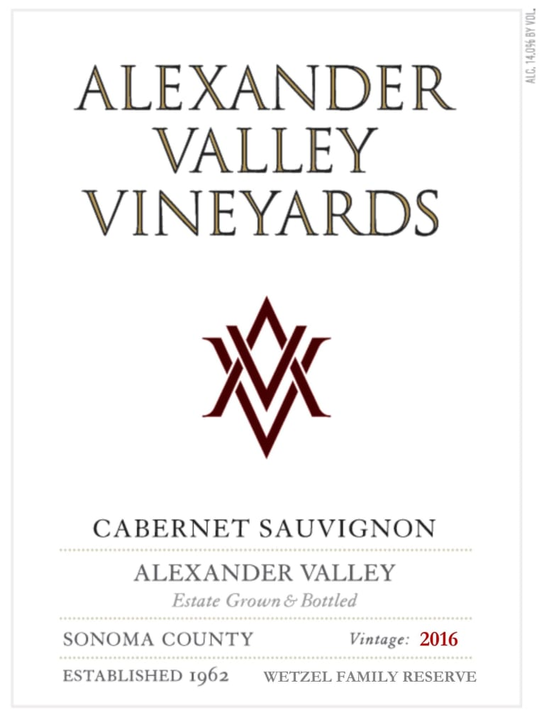 Alexander Valley Vineyards Cabernet Sauvignon (3 Liter Bottle) 2016 Front Label