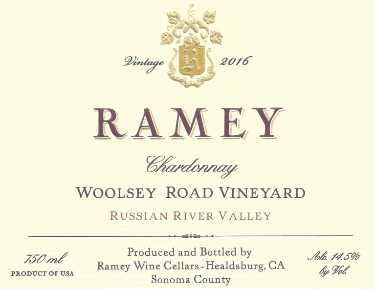Ramey Woolsey Road Vineyard Chardonnay 2016  Front Label