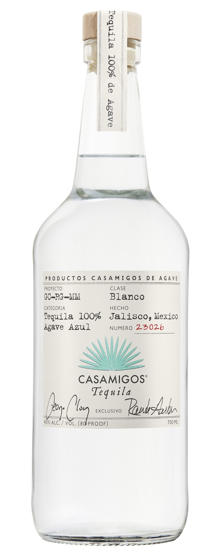 Casamigos Blanco Tequila  Front Bottle Shot