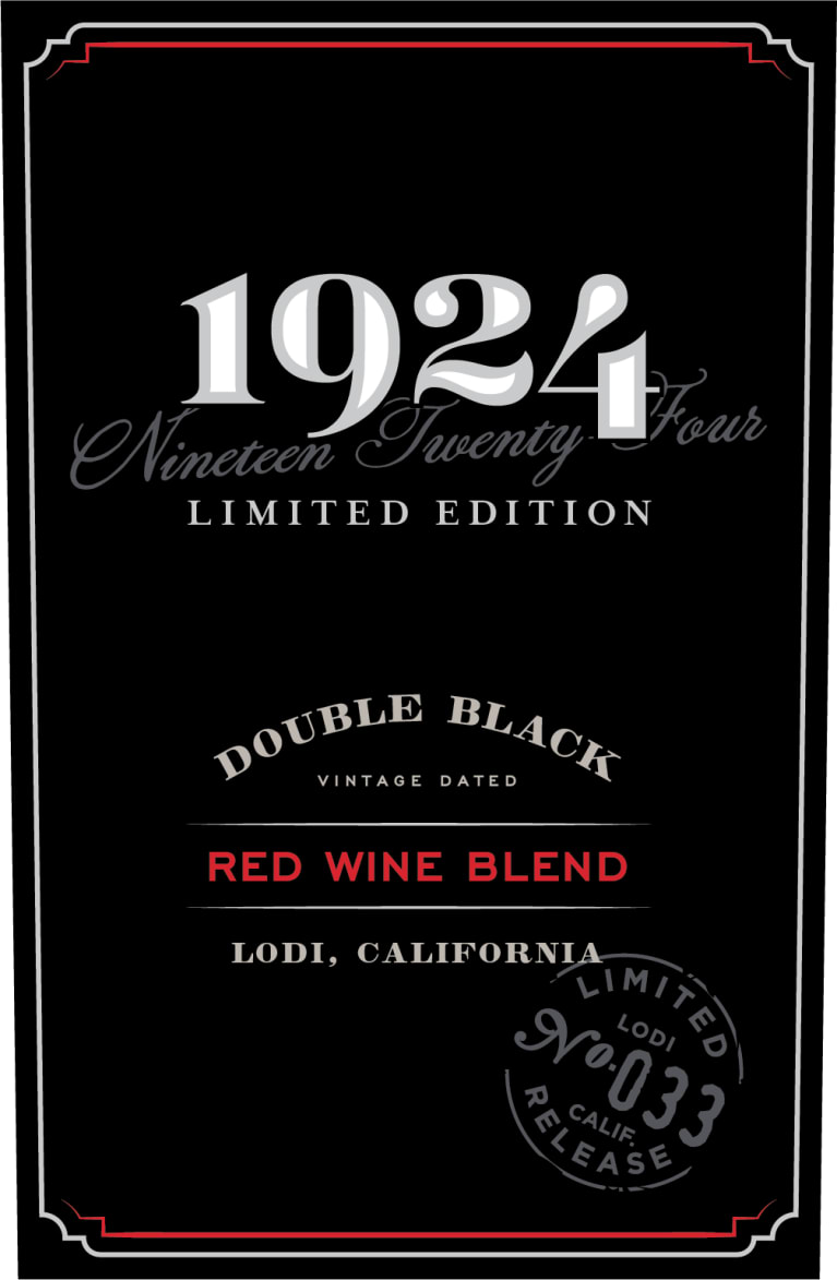1924 Double Black Red Blend 2018  Front Label
