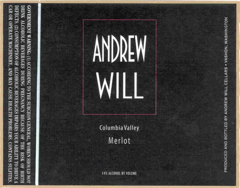Andrew Will Winery Merlot 2016 Front Label