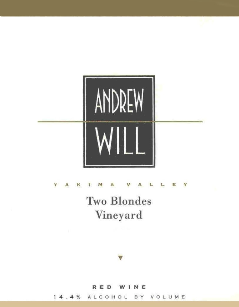 Andrew Will Winery Two Blondes Vineyard Red 2014 Front Label