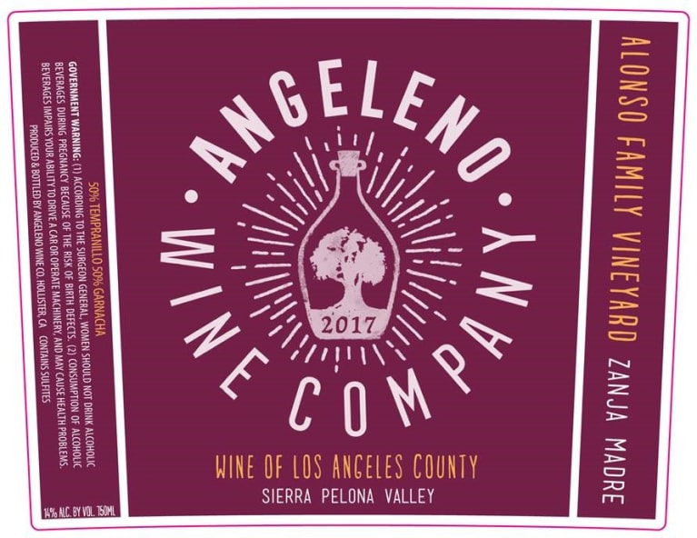 Angeleno Wine Co Zanja Madre 2017  Front Label