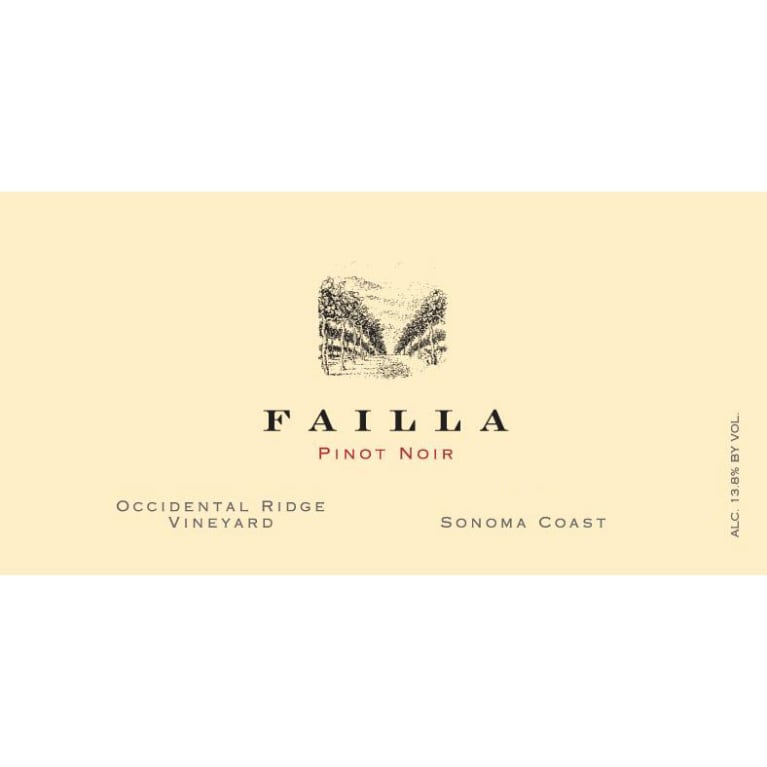 Failla Occidental Ridge Vineyard Pinot Noir 2018  Front Label