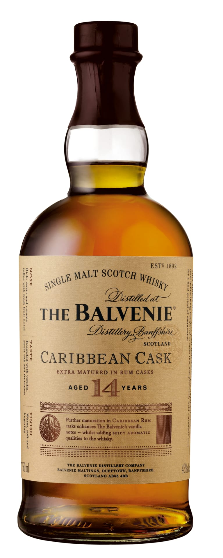 The Balvenie Caribbean Cask 14 Year Old Single Malt Scotch Whisky  Front Bottle Shot