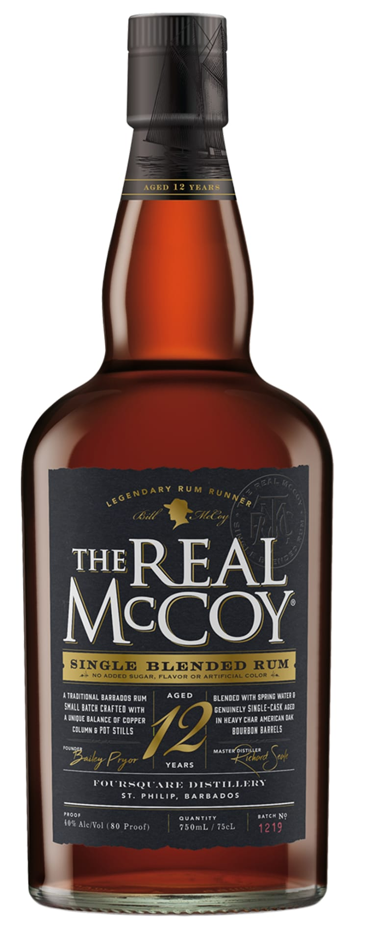 The Real McCoy 12 Year Single Blended Rum  Front Bottle Shot