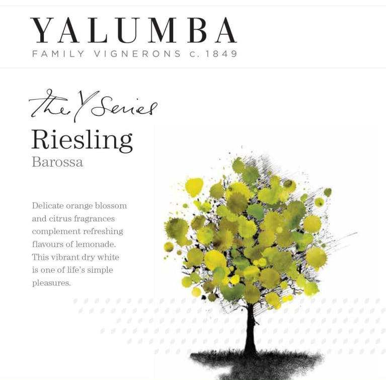 Yalumba Y Series Riesling 2017 Front Label